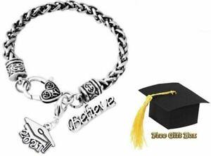 Graduation Grad Graduate Class of 2021 Silver Charm Believe Bracelet w/ Gift Box