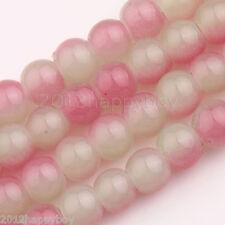 Pink Gemstone Lampwork Round Loose Jade Beads 6 mm-50 Beads Jewelry Findings