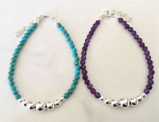 925 Sterling Silver Turquoise Amethyst Beads Bracelet Solid Silver Ball Gemstone
