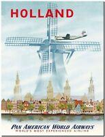 "Cool Retro Travel Poster *FRAMED* CANVAS ART Holland Windmill 16""x12"""