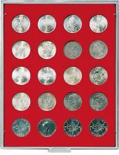 Lindner 2102 Münzenbox-grau / rote Einlage