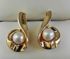 14k YG Pearl & Diamond Stud Earrings     *6 Grams*