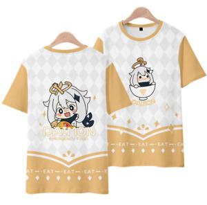 Anime Genshin Impact Paimon 3D T-shirt Unisex Adults Hip Hop Short Sleeve Tee