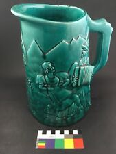 Huge Majolica Tavern Pitcher Jug Flemish Accordion Player & Dancer Teal Green