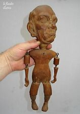 exceptionnelle personnage articulé caricaturale en bois sculpté - art populaire