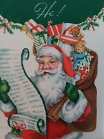UNUSED Mid Century SANTA Toys DOLL Double Open Vtg CHRISTMAS GREETING CARD NOS