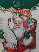 UNUSED Mid Century SANTA Toys DOLL Double Open Vtg CHRISTMAS GREETING CARD NOS