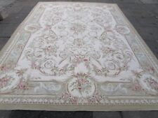Old Hand Made French Design Wool Green Pink Large Original Aubusson 373X275cm