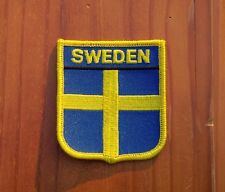 "Sweden Blue Yellow Banner Flag Iron-On 2 7/8"" Embroidered Patch"