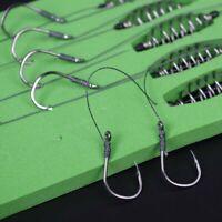 5 Pcs/Set Double-Hook Fishing Line Steel Barbed Carp Hooks Bait Feeder Accessory