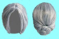 klasse Damen Mädchen Perücke zu Kostüm OMA / GROßMUTTER grau mit Dutt NEU