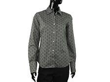 0039 ITALY Elegante Bluse Gr.S Schwarz mit Musterdruck Klassischer Kragen TOP