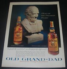 Print Ad DISTILLERY 1960 Old Grand-Dad Whiskey Bust Head of the Bourbon Family