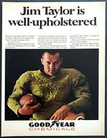 1967 Green Bay Fullback Jim Taylor in Upholstery Jersey photo Goodyear print ad
