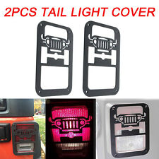 2 x Black Rear Taillight Cover Guard With Jeep Logo for Jeep Wrangler JK 07-17