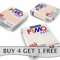 FIMO Soft Polymer Oven Modelling Clay - 57g - Set of 3 - White, Flesh & Sahara