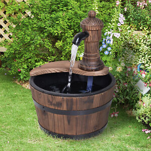 Outsunny Garden Barrel Water Fountain Patio Wood Electric Water Feature w/ Pump