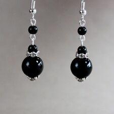Black pearl silver drop dangle earrings wedding bridesmaid bridal accessory