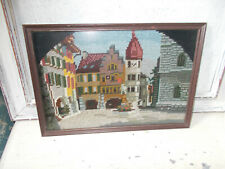 Vintage needlepoint tapestry picture Venice framed good condition