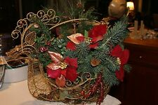 Gorgeous Brass/Wire Basket Reindeer Figurine Silhouette Filled Christmas Plants