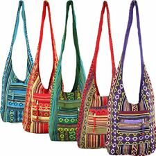 HIPPIE FESTIVAL COTTON CANVAS SHOULDER BAG DIAMOND PATTERN- 5 COLOURS