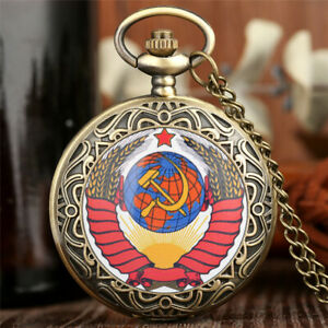 Retro Soviet Swiss Army Hammer Harvest Dragon Pocket Watch 80cm Chain Gift