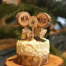 3X Wood Mr & Mrs Wedding Cake Topper Wooden Stick Rustic Anniversary Party Decor