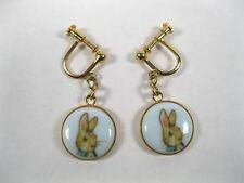 Beatrix Potter Peter Rabbit gold tone Earrings Signed JHB FW & CO porcelain