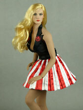 1/6 Scale Phicen, Hot Toys, SMcG Female USO Black, Red & White Stripes Dress Set