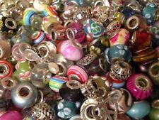 30 Assorted European Beads + 3 Bracelets / Keychains Fun Mixed Lot! READ Descrip