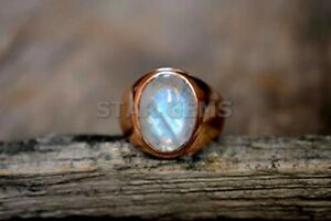 925 Gold Plated Silver Ring Rainbow Moonstone Oval Ring For Men Anniversary Gift