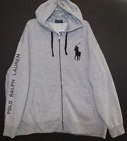Polo Ralph Lauren Mens Gray Full Zip Big Pony Hoodie Sweat Jacket NWT Size M