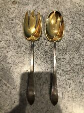Vintage Tiffany & Co FANEUIL Sterling Silver 2 Piece Salad Fork Spoon Set GOLD