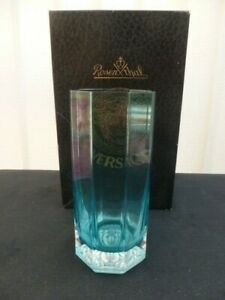 ROSENTHAL VERSACE GLASS TUMBLER *BLUE* *NEW* *BOXED*