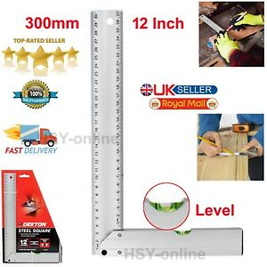 """12""""( 304mm) Tri Square Engineers Ruler Level Set Right Angle Straight Edge Steel"""