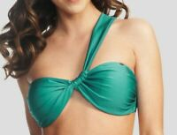 LADIES ONE SHOULDER BANDEAU BIKINI TOP Fortune Green FIGLEAVES NEW