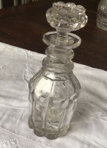 Antique Victorian - Edwardian Cut Glass Crystal Decanter & Stopper.