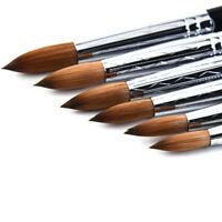New Nail Brush White Acrylic Handle Kolinsky Hair Pro Nail Art Brush Beauty Tool