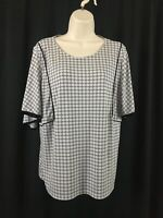 Worthington Size L EUC Women's Polyester 3/4 Bell Sleeve Scoop Neck Blouse