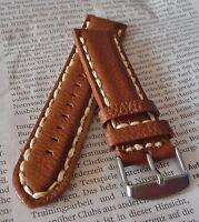 Leder Uhrenband Strap 24mm Braun inkl. einer Edelstahlschließe Neu