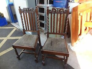 pair of antique chairs with barley twist legs