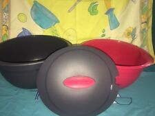 VINTAGE TUPPERWARE MICROWAVE REHEATABLE BLACK RED LARGE OVAL INSULATED SERVER