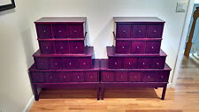 Three 15-Drawer CD DVD Storage Cabinet in Cherry PSA SGC Graded Cards Apothecary