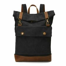 Retro Men Large Capacity Canvas Backpack Roll Cover Outdoor Camping Hiking Bags