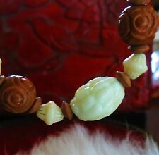 "Antique Czechoslovakia Max Neiger white pressed beads carved wood necklace 16""rt"