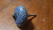 Hand-made Hand-painted Ceramic Drawer Knob - Dark blue flower - S65