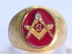 Vermeil Sterling Silver Red Enamel Clear Crystal Mason Masonic Men Rig Size 8-14