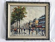 Manetti Textured Print in Frame. Vintage European Street Scene Painting