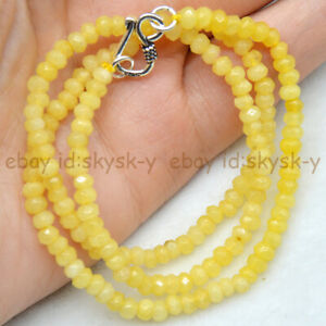 Fine 2x4mm Natural Yellow Jade Faceted Roundel Gems Beads Necklace Silver Clasp