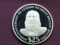 T2: World Coin Fiji 1974 25 Dollar Proof .925 Silver 100th Anniversary Cakobau